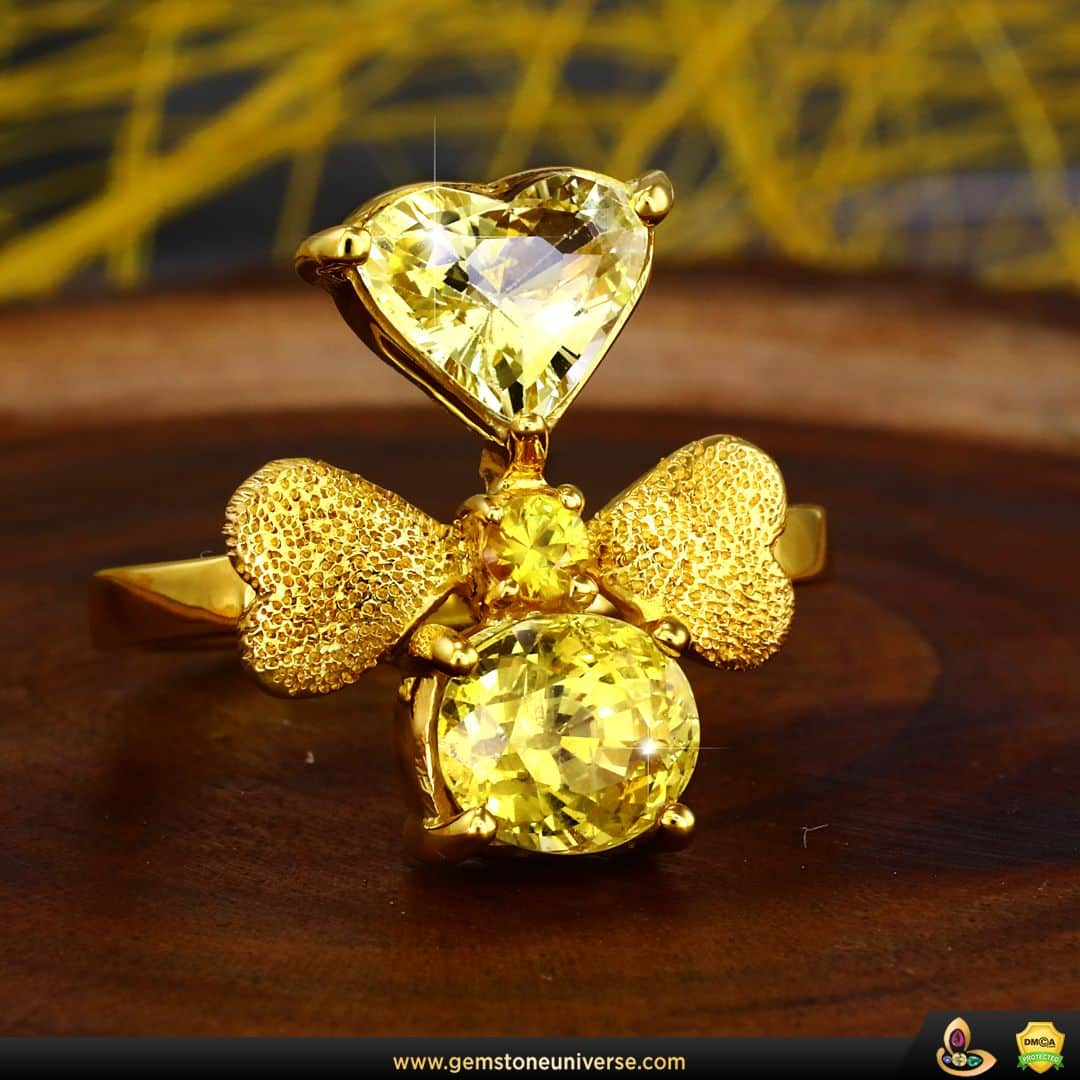 Anillo de zafiro amarillo refinado hecho por el taller Gemstoneuniverse